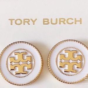 Tory Burch white & gold circle stud earrings